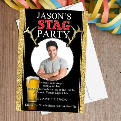 10 Personalised Stag Night Party PHOTO Invitations N25